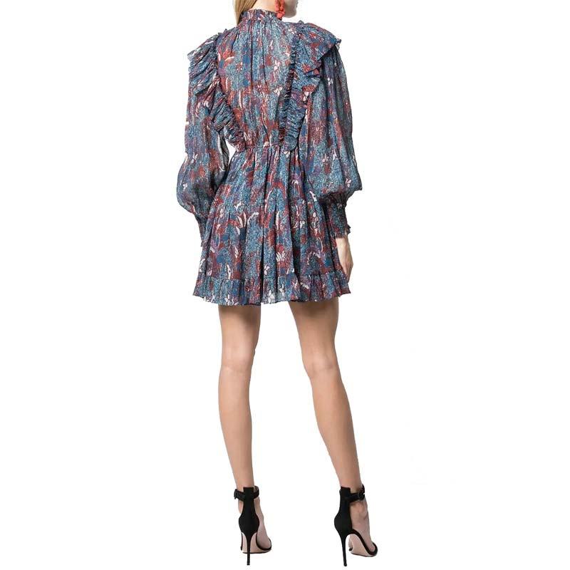 Long Sleeve Layers of Frills Blue Floral Print Ruffle Dress Mini Women Dress