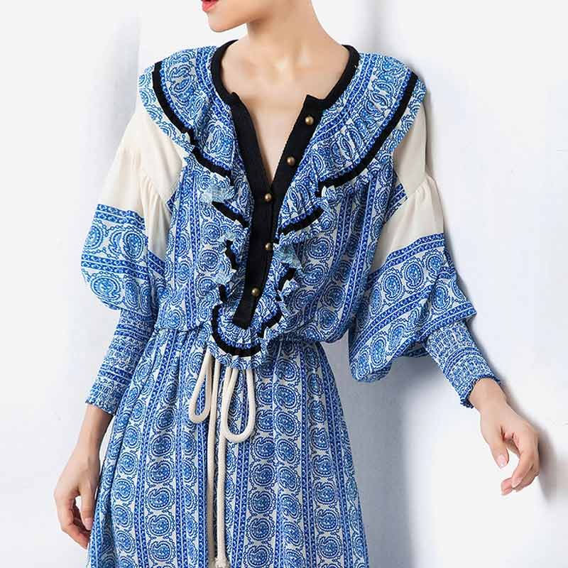 Fashion Vintage Print Summer Dress Women Lantern Sleeve High Waist Drawstring Dress Welcome to custom High Waist Drawstring Dress,We will offer you the best price and make sure