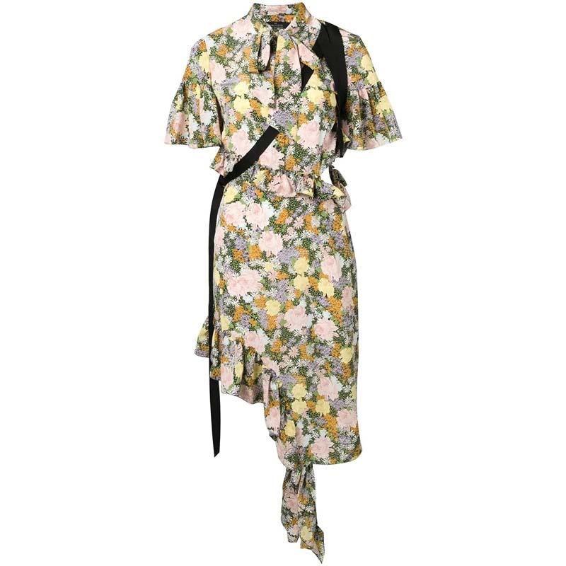 Ruffle Sleeve Asymmetrical Hem Flounce Floral Printed Midi Shirt Dress with Button