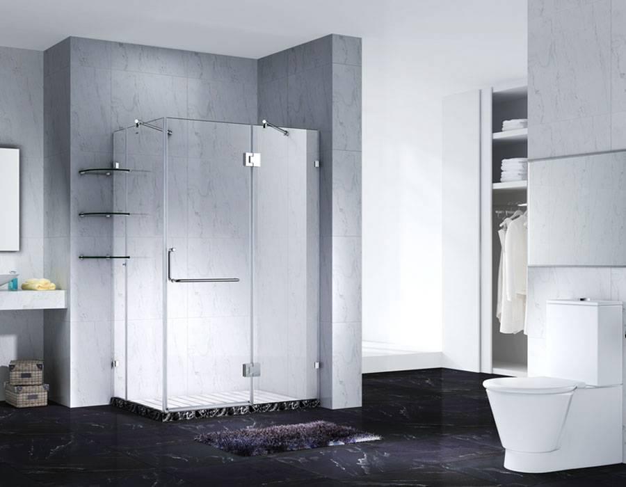 Slimline Frameless Rectangle Shower Enclosure With Pivot Door, AB 1242-1